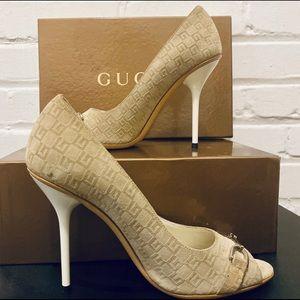 Gucci Shoes - Gucci GG Guccissima Horsebit Peep Toe Pumps